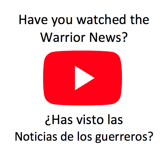 Have you watched the Warrior News? Clicking this YouTube logo will open our Youtube channel in a new window.